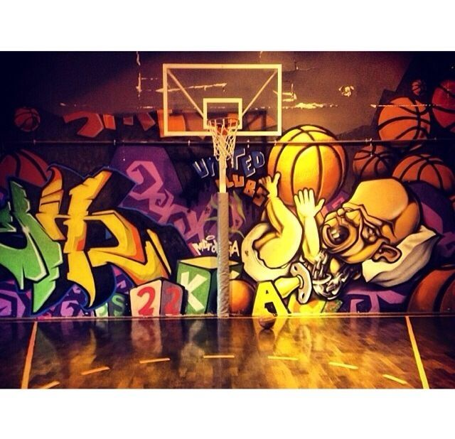 Retro Basketball Court Colorful Graffiti Guys Basketball Retro