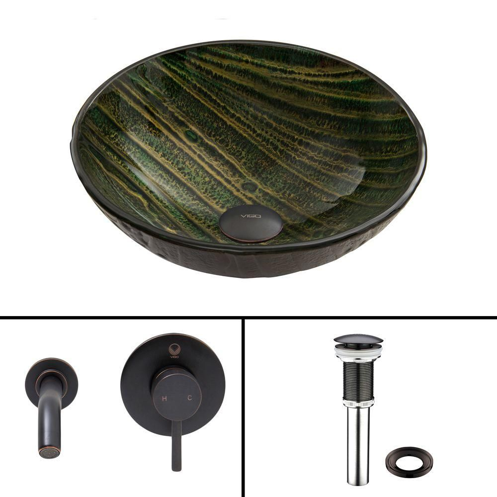 Vigo Glass Vessel Sink in Green Asteroid and Olus Wall Mount Faucet Set in Antique Rubbed Bronze