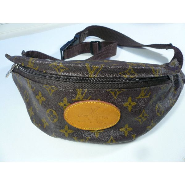69e240377 Vintage Louis Vuitton Fanny Pack Bag ($21) ❤ liked on Polyvore featuring  bags, logo bags, hip fanny pack, bum bag, belt fanny pack and zip bag