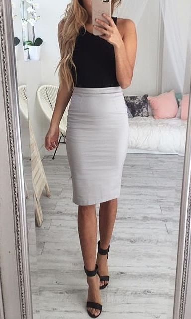Simple and chic just black too and pencil skirt and you already became a  stylish business lady 5ba5496c59d3