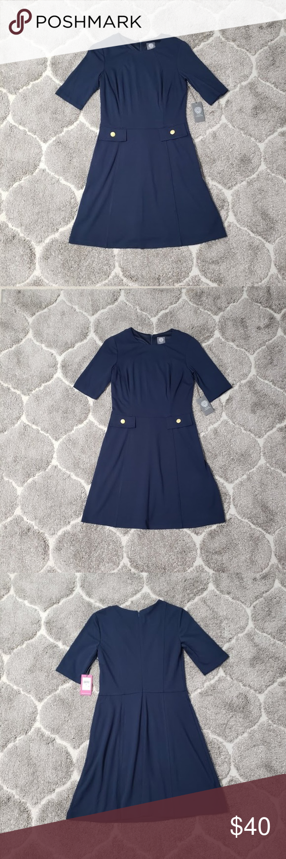 Vince Camuto Navy Knit Aline Dress Nwt Sz 8 Aline Dress Dresses Vince Camuto [ 1740 x 580 Pixel ]