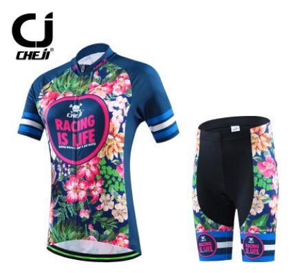 5978b10fc 2016 CHEJI Pro Women Bicycle Cycling Jersey Short Sleeve Shirts Shorts Dark  Blue  Affiliate