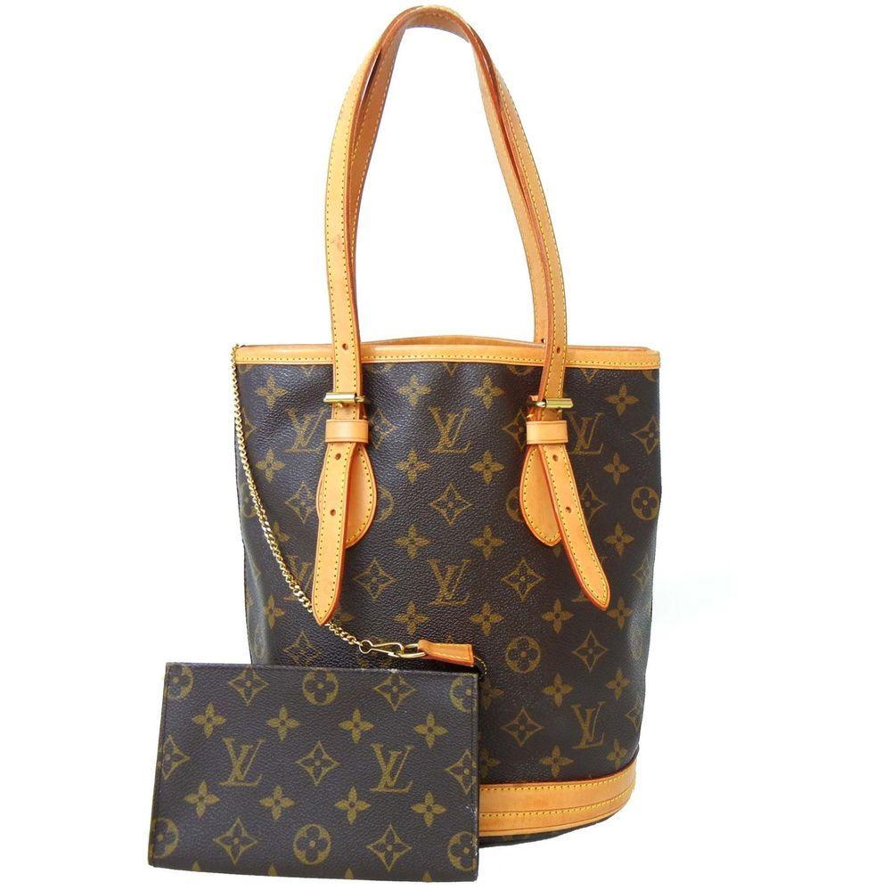 Authentic LOUIS VUITTON Monogram BUCKET PM Shoulder Bag LV w/ Pouch $1110 retail