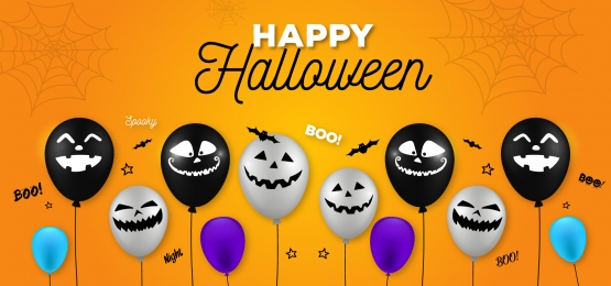 Halloween Banner With Halloween Ghost Balloons Spider And Bat Scary Air Balloons Background Balloon Background Halloween Banner Halloween Balloons
