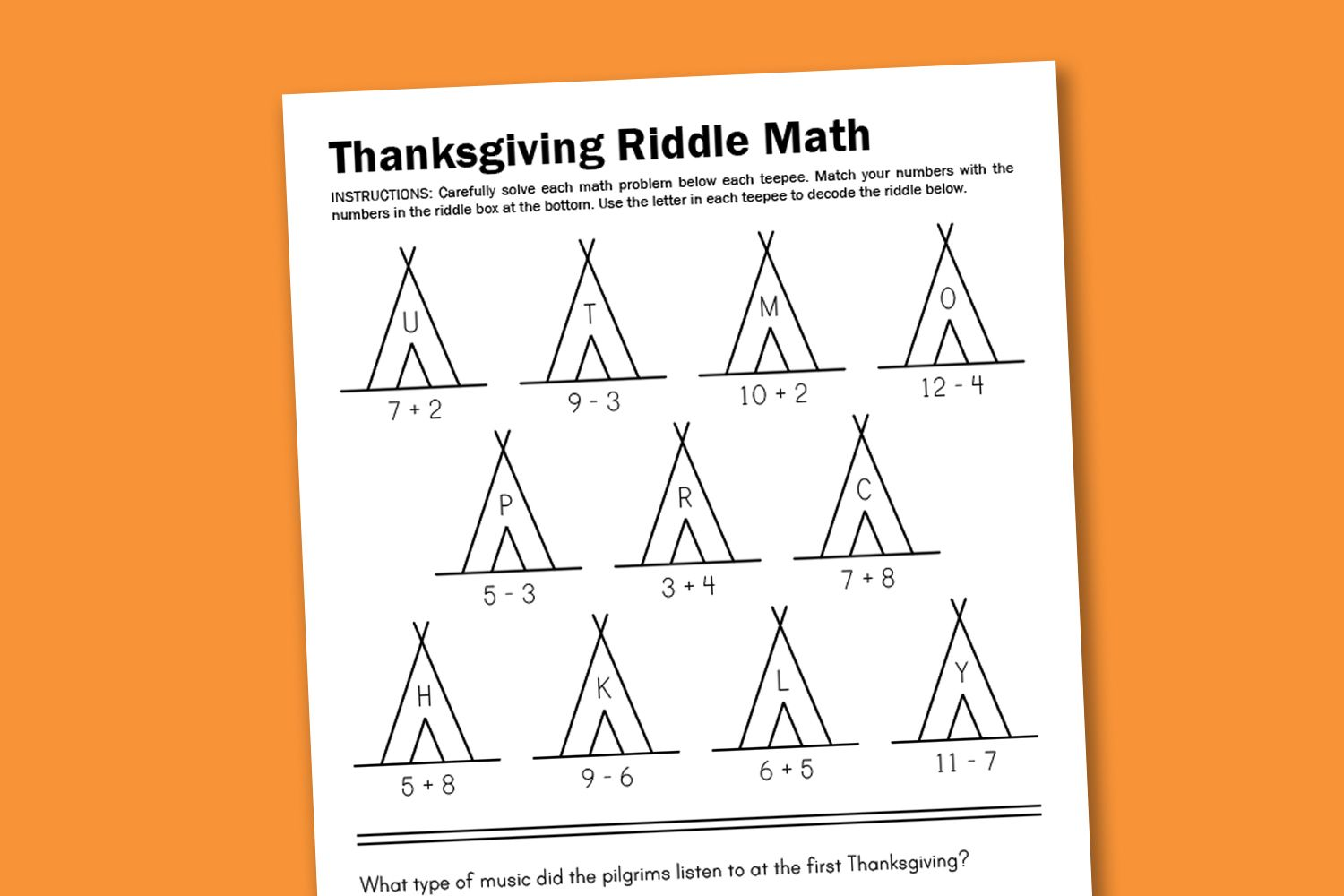 Worksheet Wednesday Thanksgiving Math Riddle With Images