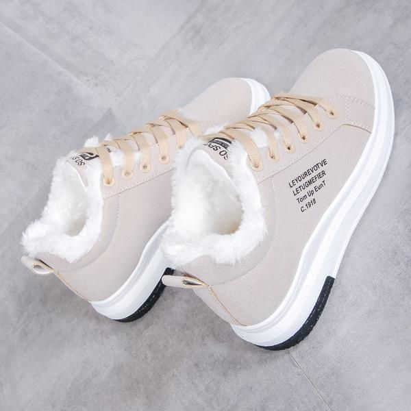 Boots Women Casual Simple Warm Flat Lace Up Shoes Fashion Plush Students Cotton Sneakers Womens Non Slip Aust Casual Shoes Women Flat Lace Up Shoes Girly Shoes
