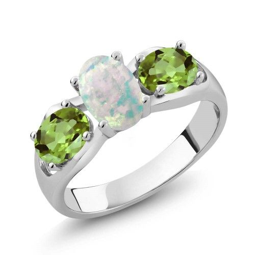 2.06 Ct Oval Purple Amethyst and Green Peridot Sterling Silver Ring