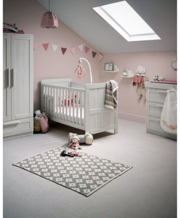 Atlas Cot Bed 3 Piece Nursery Furniture Set Nimbus White