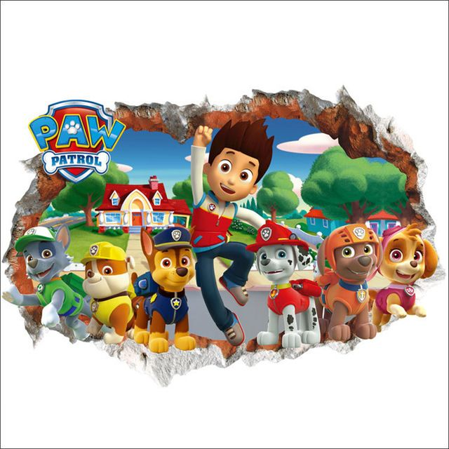 Fair Price 3D Paw Patrol Snow Slide Background Removable Wall Stickers Bedroom Home Decorative Waterproof Kids Room Decor Art Decals QT081 Just Only 476