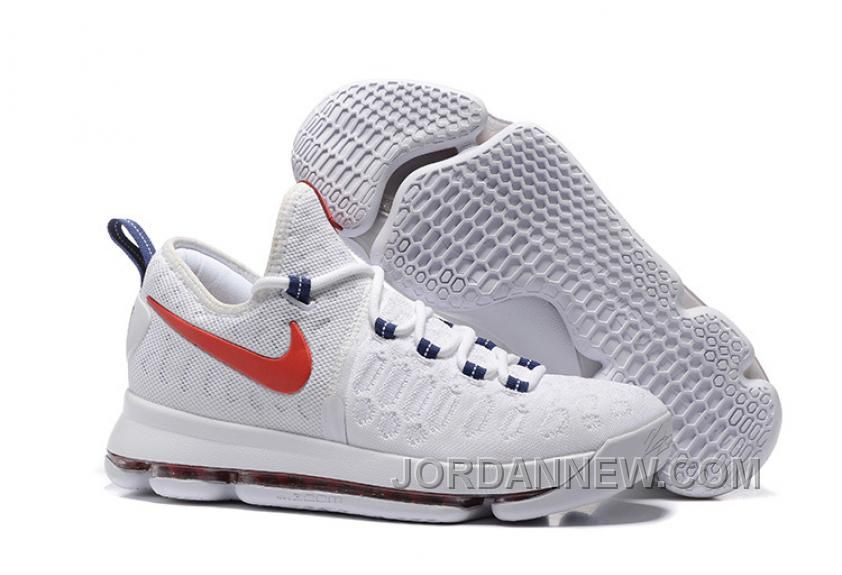KD 9 USA White/University Red-Race Blue 2016 For Sale,Discount shoes,cheap  sneakers