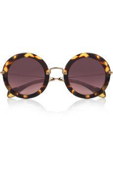 Miu Miu Round-frame acetate sunglasses   a c c e s s o r i e s   Pinterest    Usando óculos, Óculos e Olhar c9223db8ba