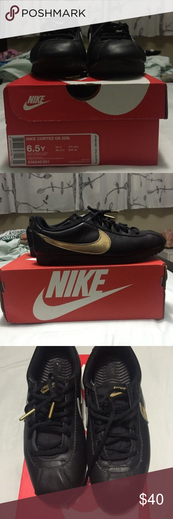 Nike Cortez Black Leather/Gold Pretty great condition, don't fit the same after my pregnancy. Only worn a few times inside my home. Nike Shoes Sneakers