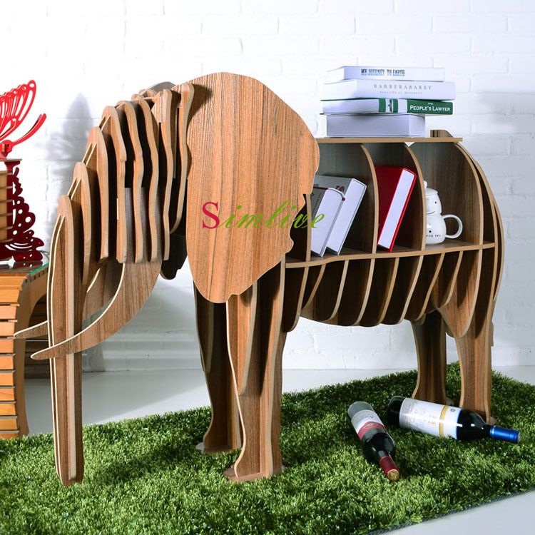 Wood Elephant Table For Living Room Decor Diy Animal Furniture Animal Bookshelf Lucky