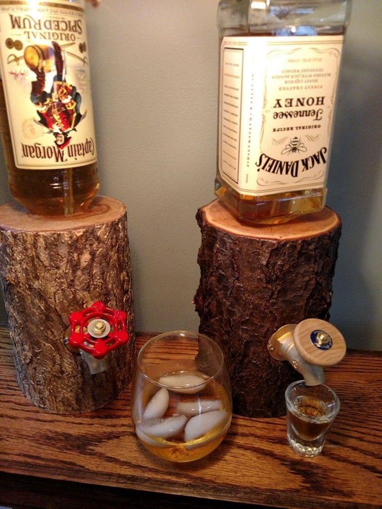 Handmade Log Liquor Dispenser Is The Manliest Way To House