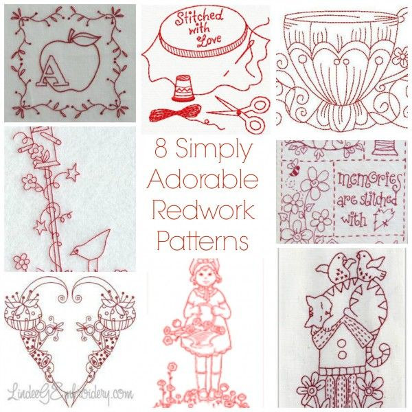 8 Simply Adorable Redwork Patterns | Bordado, Costura y Dibujo