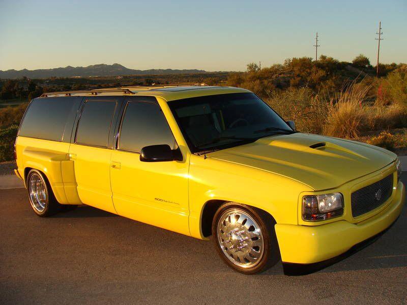 Yellow Escalade Conversion Dually Suburban Chevy Suv Dropped Trucks Custom Pickup Trucks