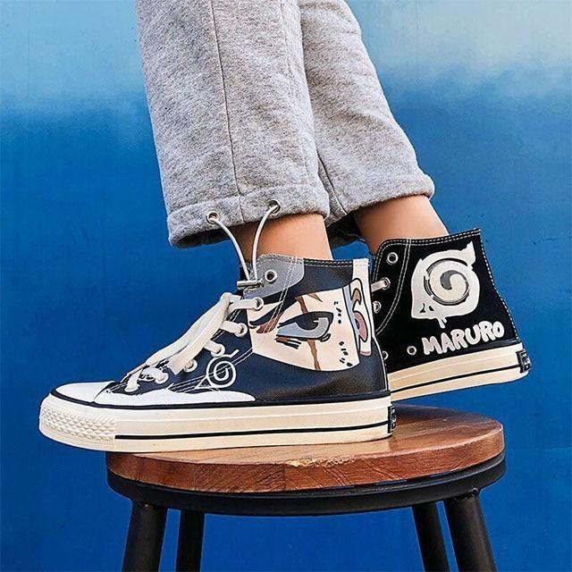 Photo of Anime Naruto Canvas Shoes Sasuke Men's Vulcanized Shoes Kakashi Sneakers Gaara Madara Pain Cosplay School Outdoor Casual Shoes – Black / 43