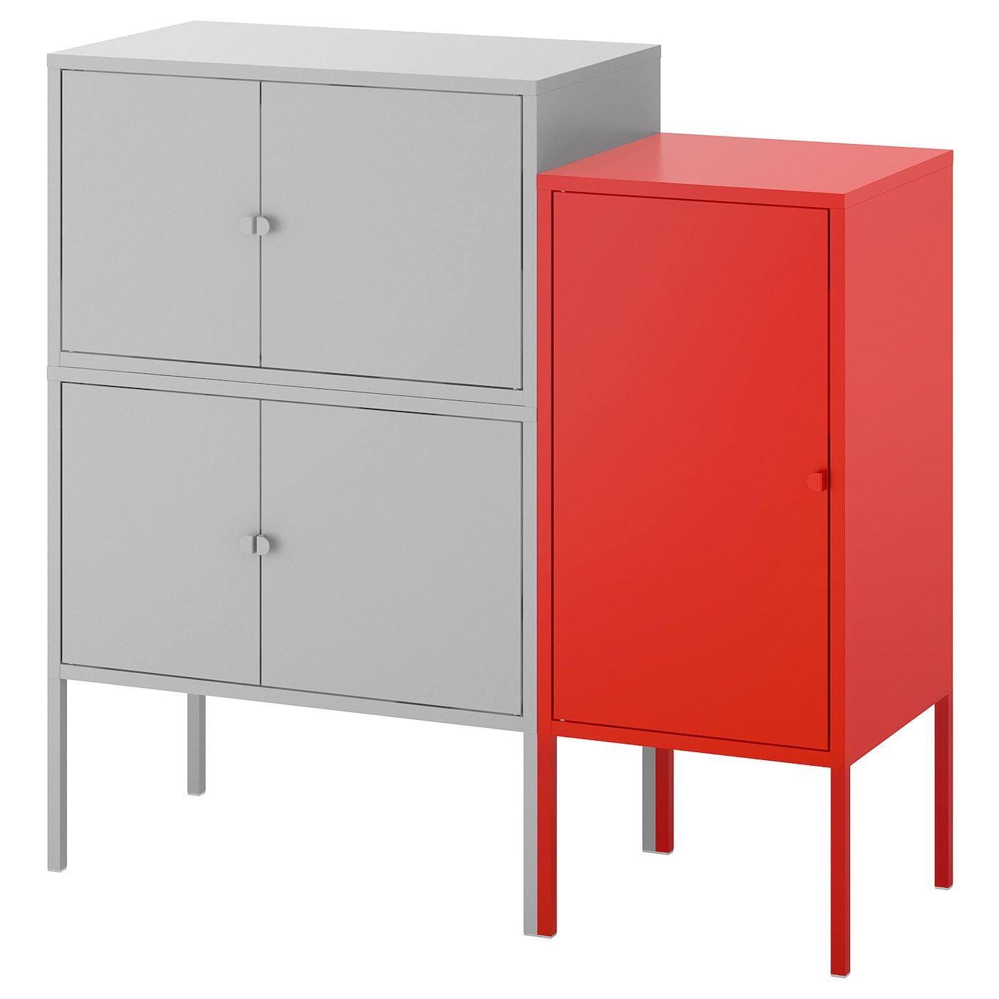 Lixhult Schrankkombination Grau Rot Ikea Osterreich