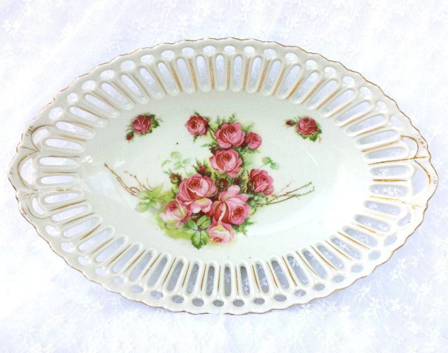 Reticulated Bowl with Pink Cabbage Roses Retsch Porcelain Co. Circa 1907 Edwardian Period Antique #edwardianperiod
