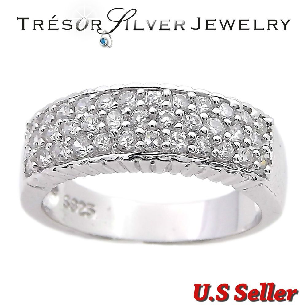 Buy For Less Clear Cubic Zirconia Iced Out Band Ring Rhodium Plated Sterling Silver