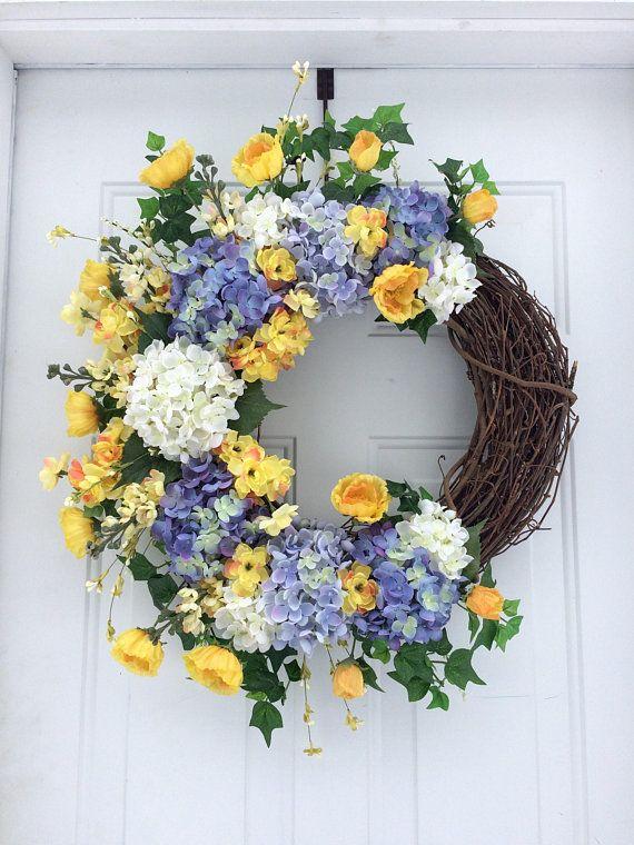 Photo of Summer Wreaths, Spring Front Door Wreath, Natural Front Door Wreath