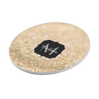 Beautiful ch&agne gold glitter sparkles Monogram Paper Plate  sc 1 st  Pinterest & Beautiful champagne gold glitter sparkles Monogram Paper Plate ...