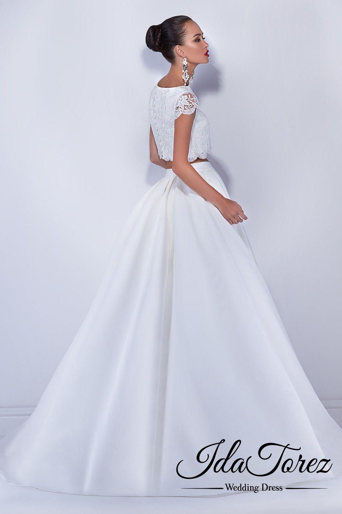 334b1a7e372fb8 Divine Crop top Bateau Natural Court Train Luxuriant Satin Ivory Cap Sleeve  Buttons Wedding Dress 01042