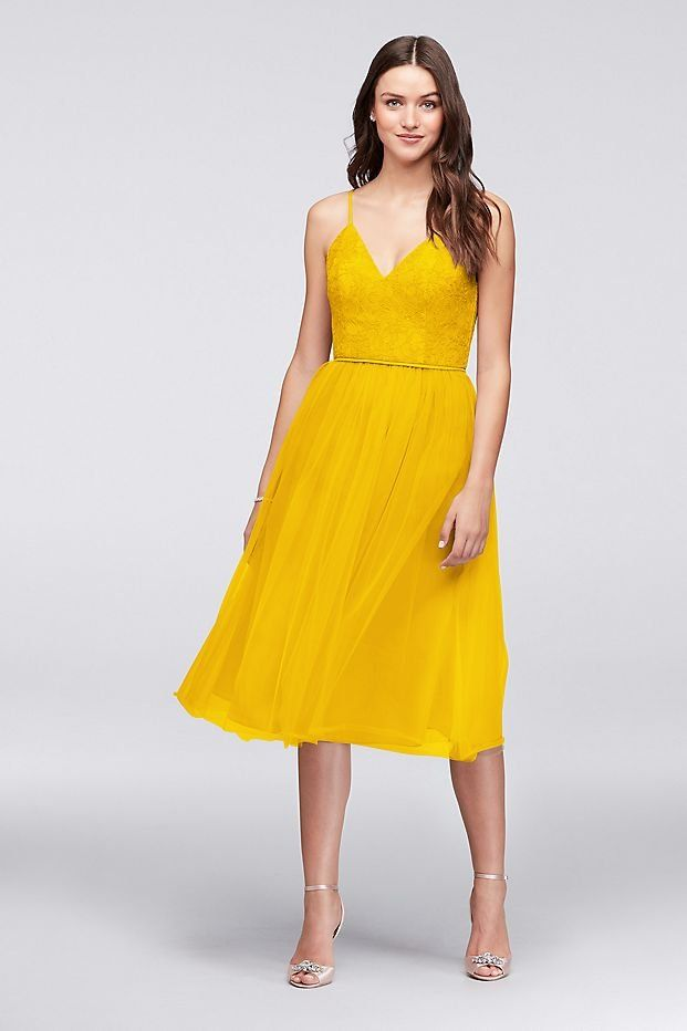 e3f161c7c2f Sunflower Yellow Chantilly Lace and Tulle Short Bridesmaid Dress ...