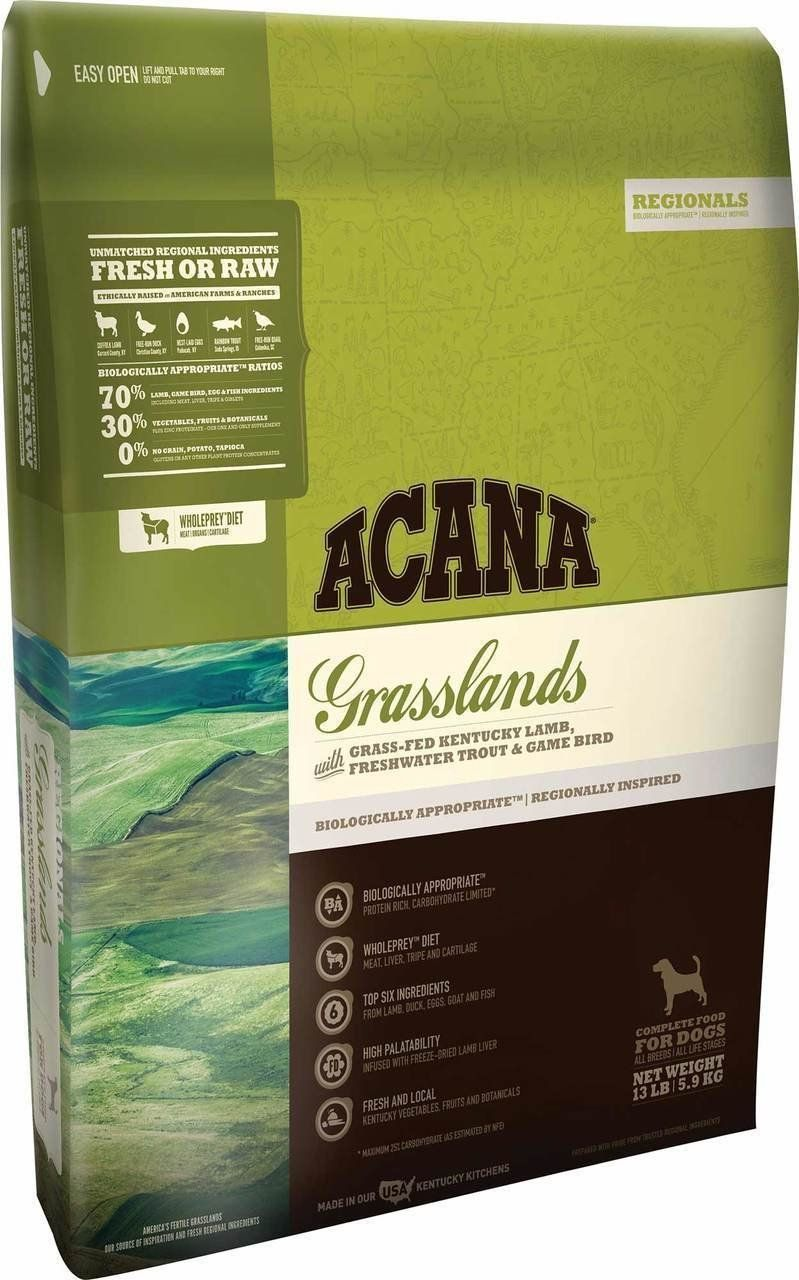 ACANA Grasslands Dry Dog Food 13 lb. Bag. made with
