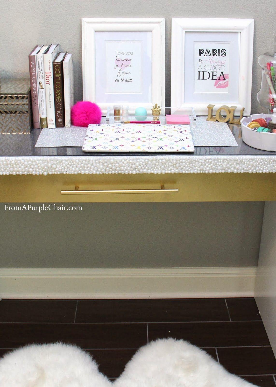 DIY Malm Vanity Makeover White and Gold Vanity desk decor