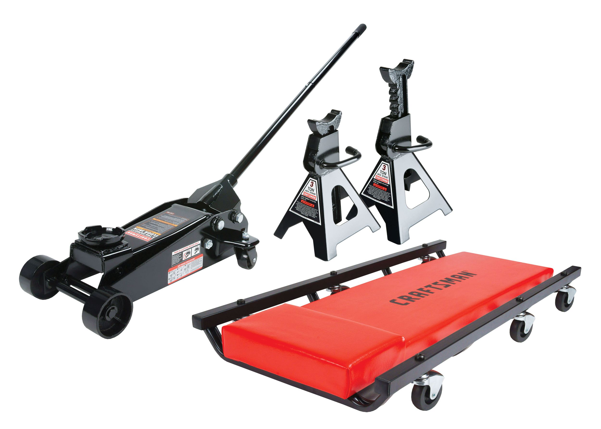 Craftsman 3 Ton Floor Jack With Jack Stands And Creeper Set In 2020 Floor Jack Jack Stands Floor Jacks