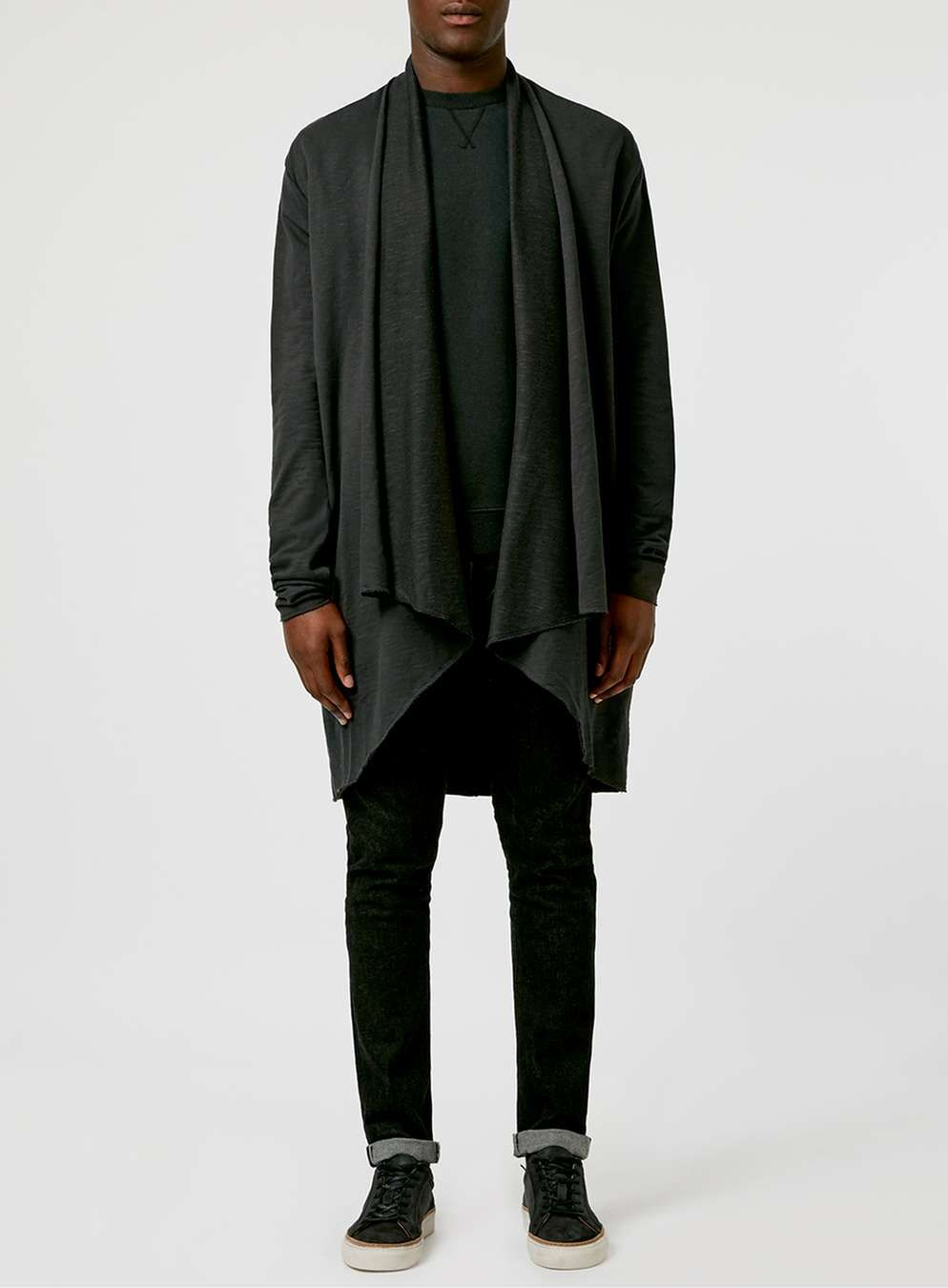 Washed Black Waterfall Cardigan - Men's Jumpers & Cardigans - Clothing