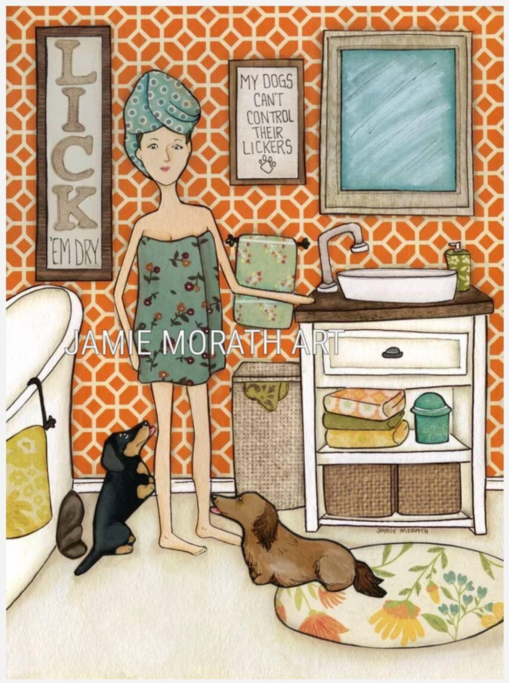 Lick'em Dry, dachshund doxie dog art print, bathroom home
