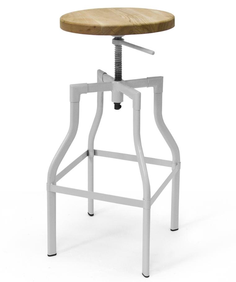 Incredible Hugo Adjustable Stool White Frame Wood Seat Home Decor Evergreenethics Interior Chair Design Evergreenethicsorg