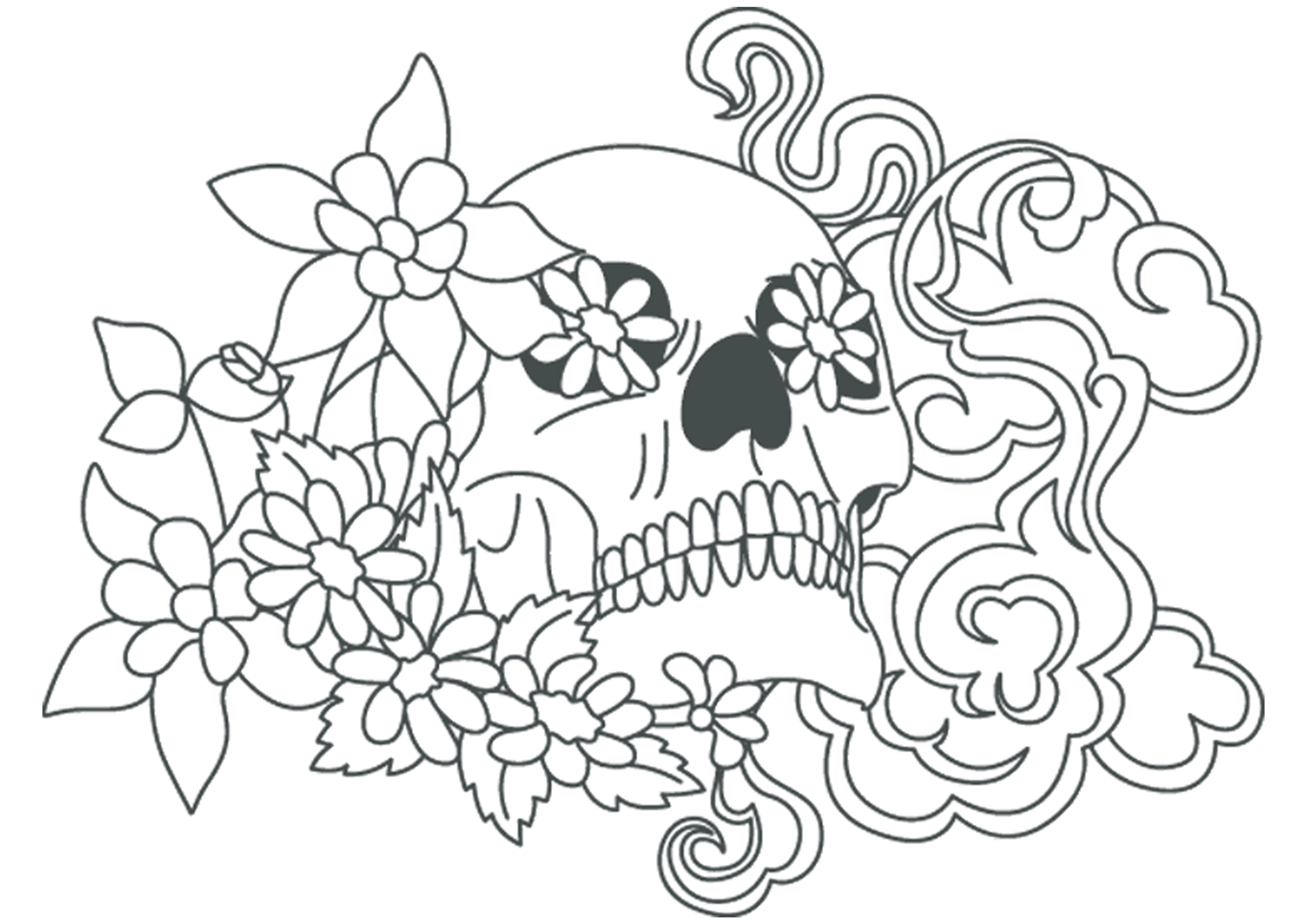 A3 Skull Stencil With Flowers