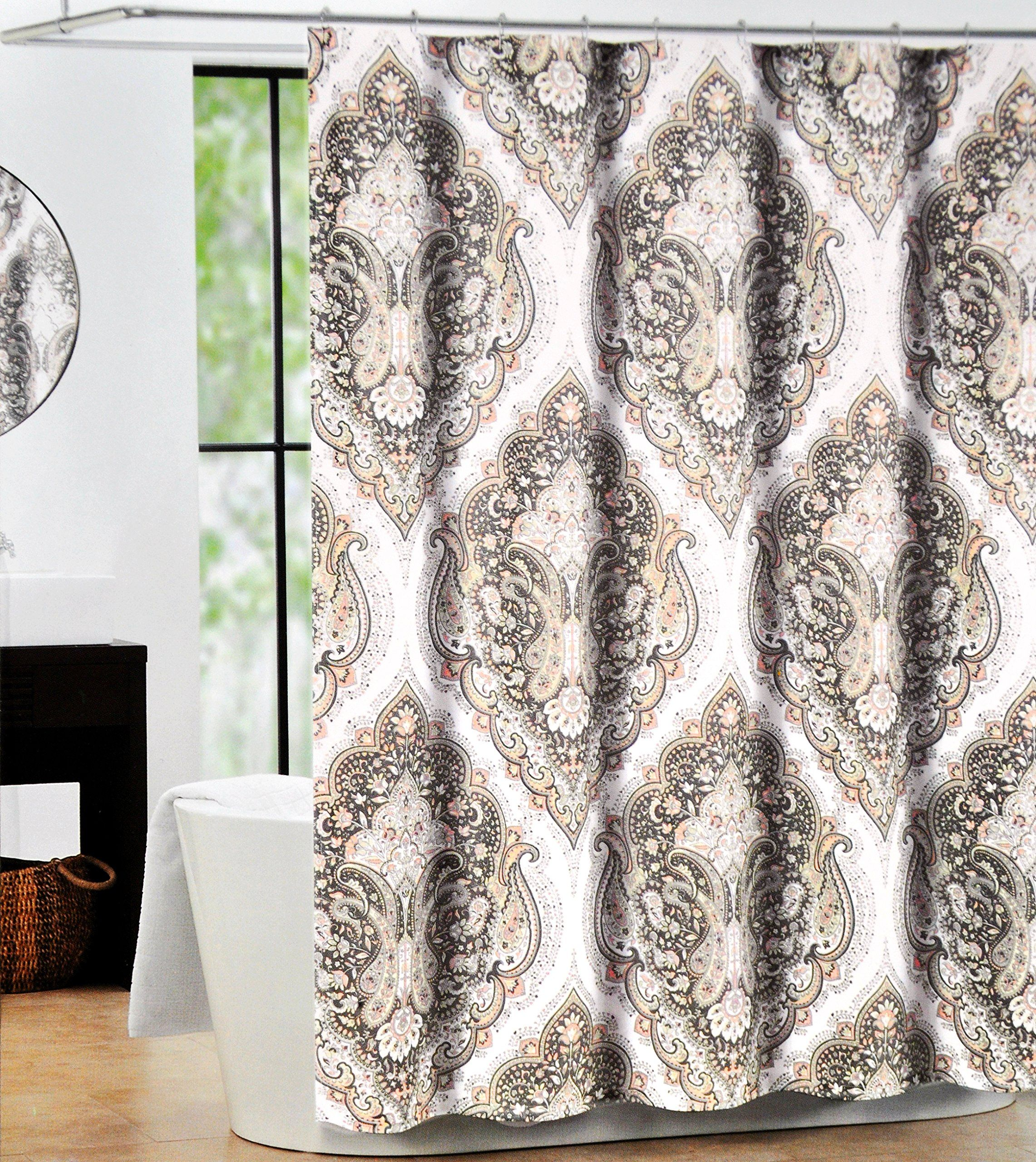 Tahari Luxury Cotton Blend Shower Curtain Coral Peach Taupe Paisley Design,  Salma