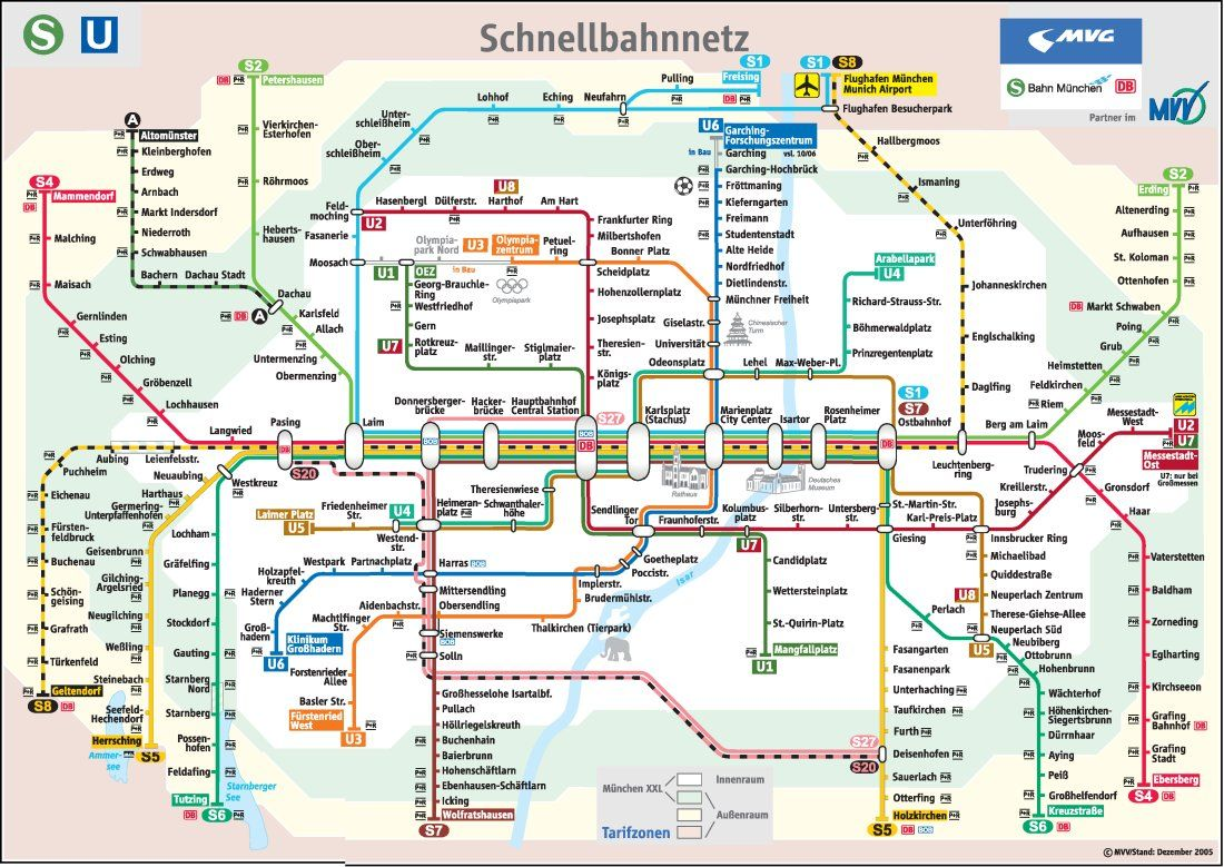 Marvelous Tube Map of Munich train and subway system