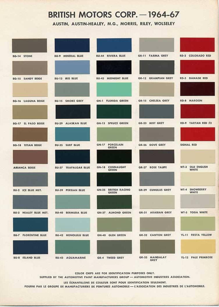 British Motors Copp Colour Chart 1964 67 Paint Color Codes Car Paint Colors Mini Cooper Classic