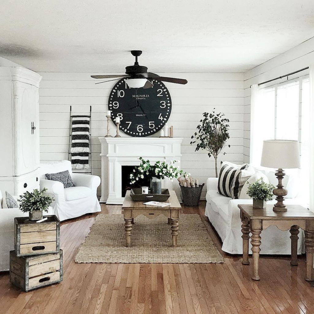 75 warm and cozy farmhouse style living room decor ideas (24 ...
