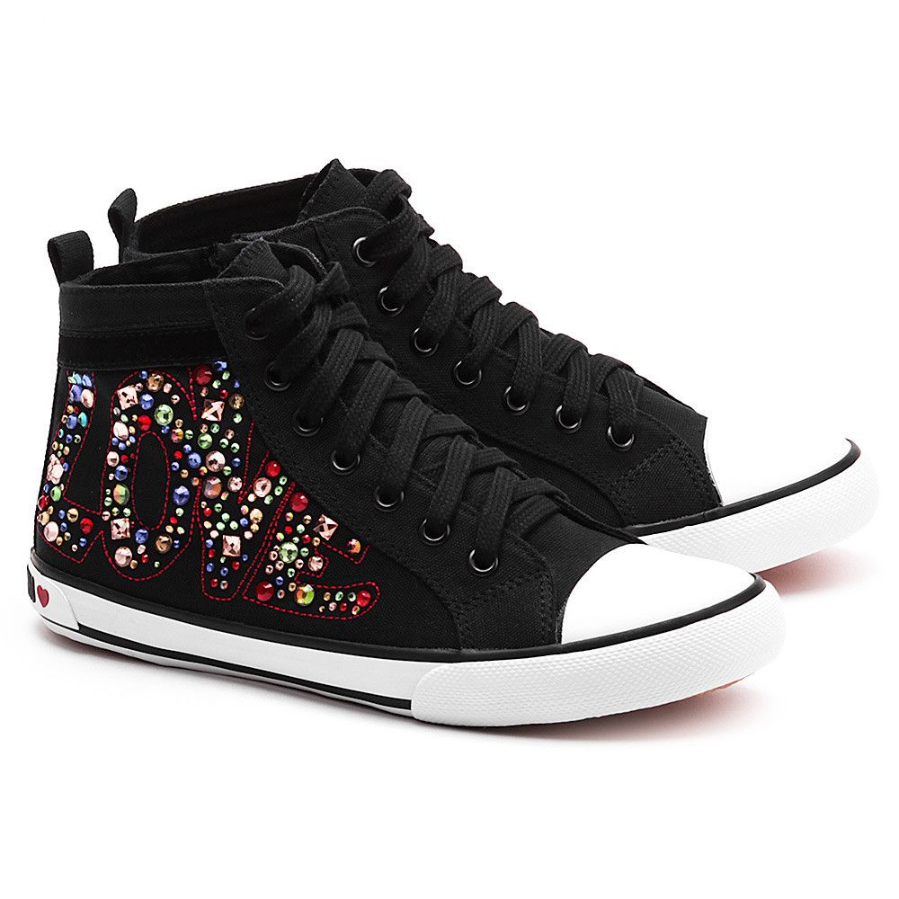 Love Moschino Embroidery Strass Czarne Canvasowe Trampki Damskie Buty Kobiety Trampki Mivo High Top Sneakers Shoes Sneakers