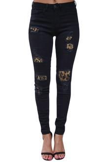 Womens Black Leopar Flannel Lined Jeans Womens In 2018 Pinterest