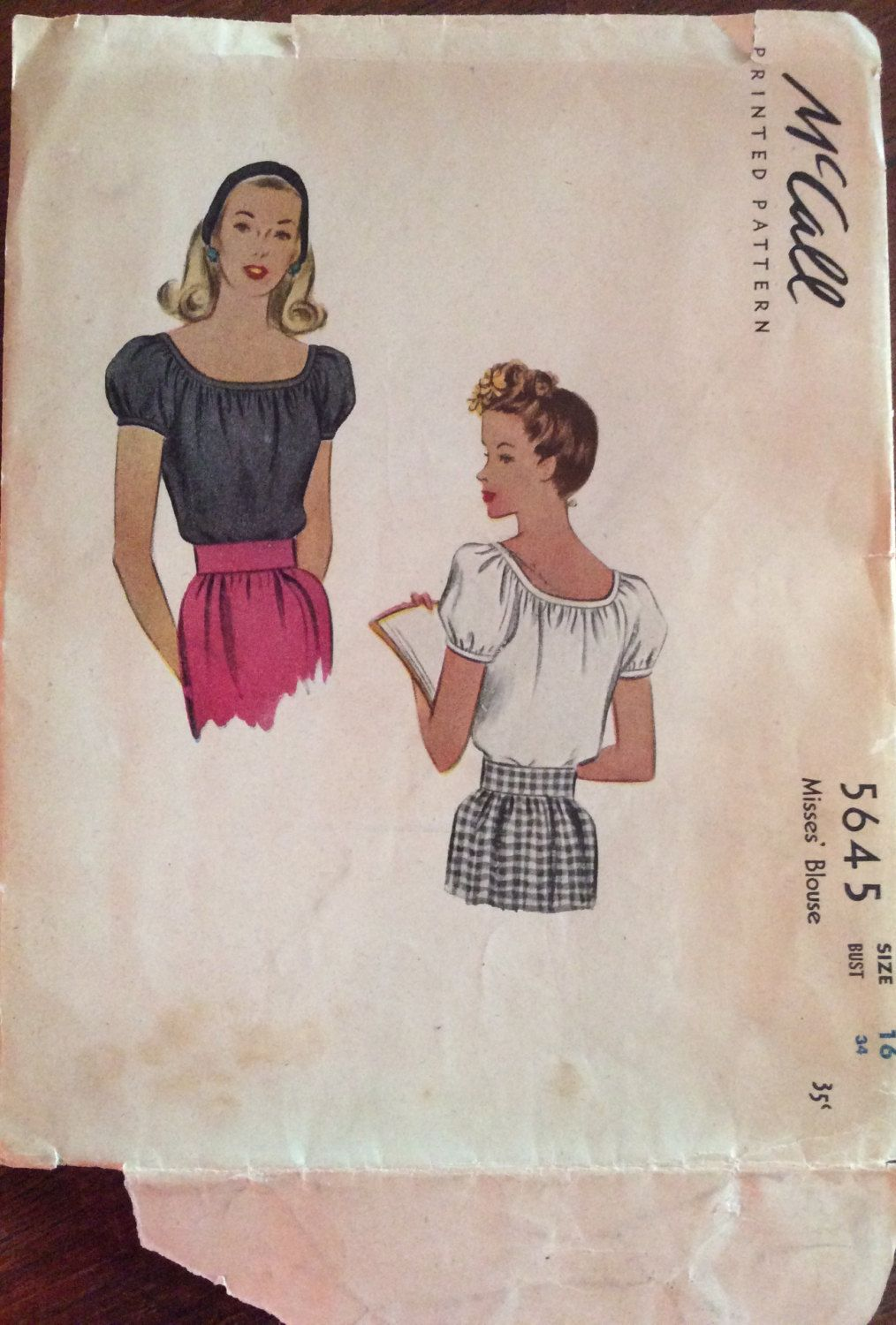 1940s peasant blouse McCalls 5645 vintage sewing pattern Bust 34 Waist 28 Retro 40s Mid Century casual top preppy style by 101VintagePatterns on Etsy