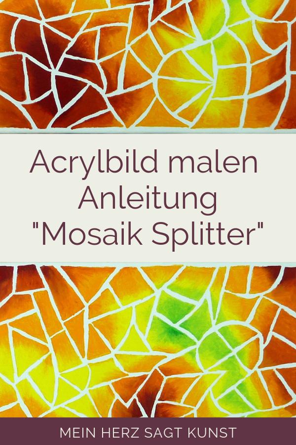 Acrylbild Mit Mosaik Optik Idee Zum Malen Acrylmalerei Mein