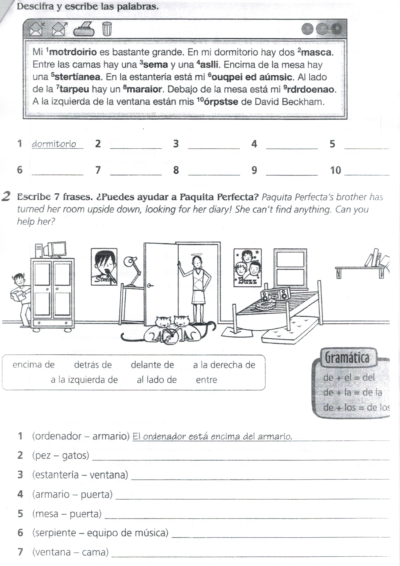 Worksheets Middle School Spanish Worksheets ejercicio una pregunta en materiales pinterest spanish worksheets en