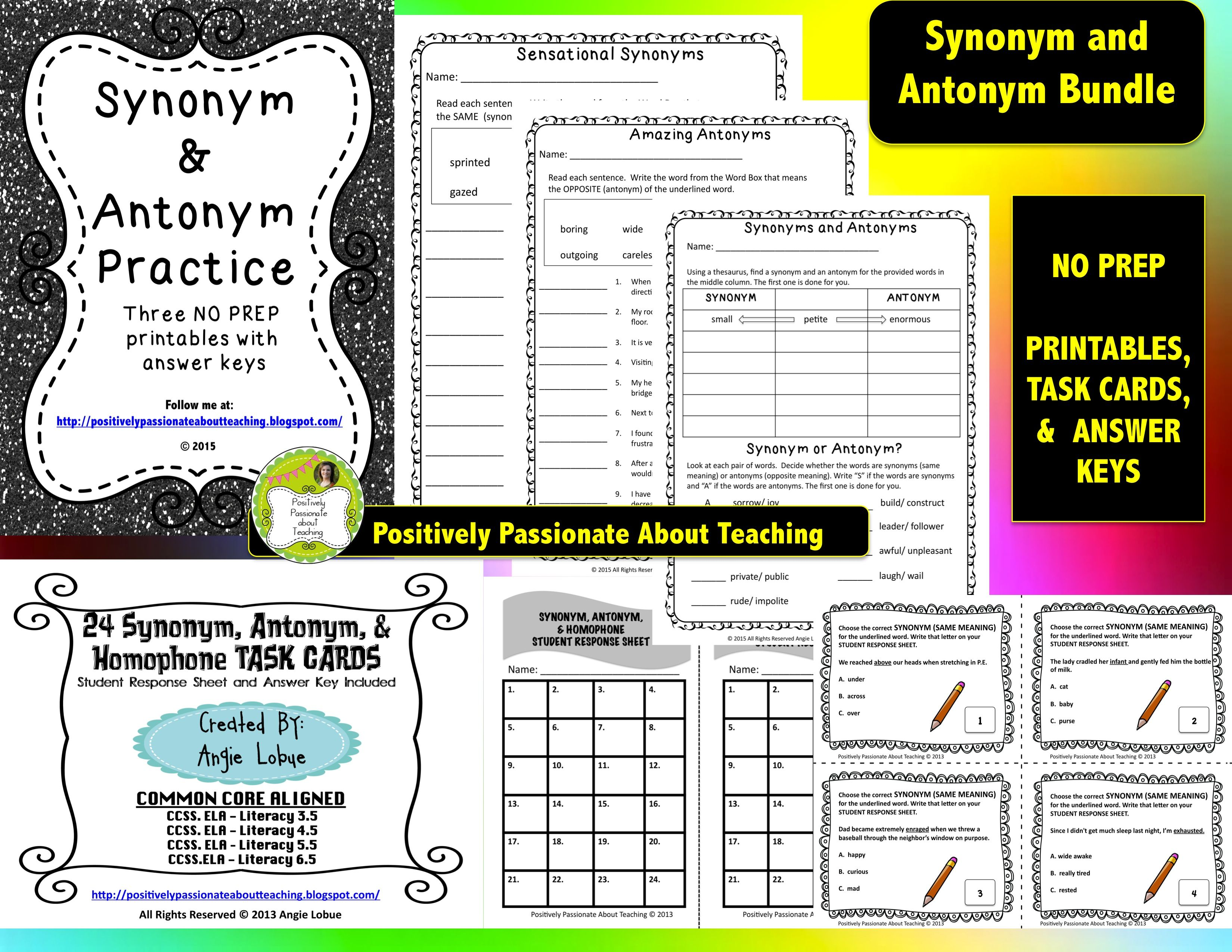 Synonym Amp Antonym Bundle Practice Printables And Task Cards