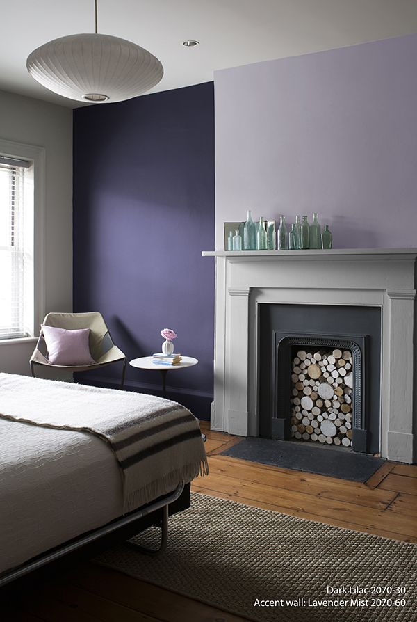 perfectly purple bedroom! wall color: dark lilac - accent wall