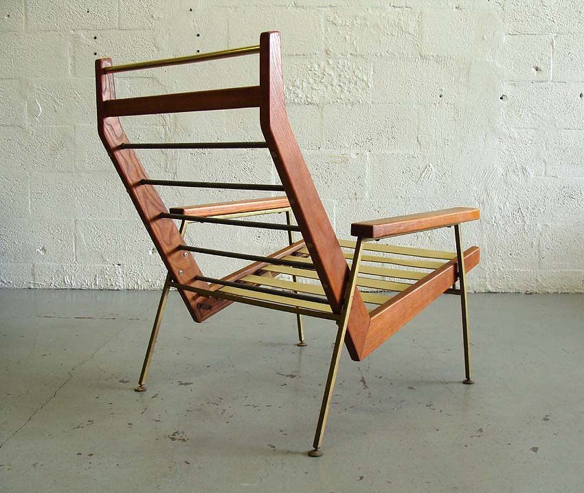 Rob parry mid century modern wood and metal lounge chair