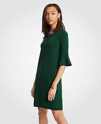 Petite Fluted Sleeve Sweater Dress, Green Eden   Ann and Petite