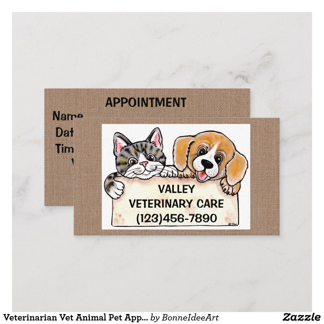Veterinarian Vet Animal Pet Appointment Dog Cat Business Card Zazzle Com In 2020 Dog Cat Veterinarian Pets