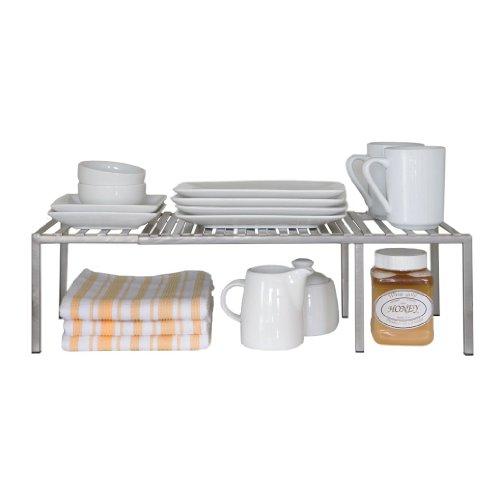 Seville Classics Iron Slat Expandable Kitchen Counter And Cabinet Shelf Platinum Decobros Expanda Kitchen Cabinet Shelves Kitchen Space Savers Kitchen Counter